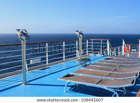 Walking deck of the cruising liner