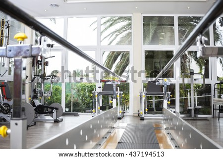 Walking Equipment With Parallel Bars At Rehab Center Stock photo ©