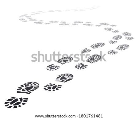 Walking far footprints. Outgoing footsteps perspective trail, walk away human foot steps silhouette, shoe steps track  illustration. Imprint track walk, footprint black trail