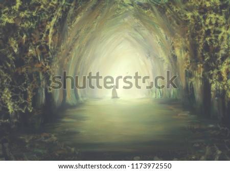 Stock Photo walking in the mystic magic deep forest surreal digital art