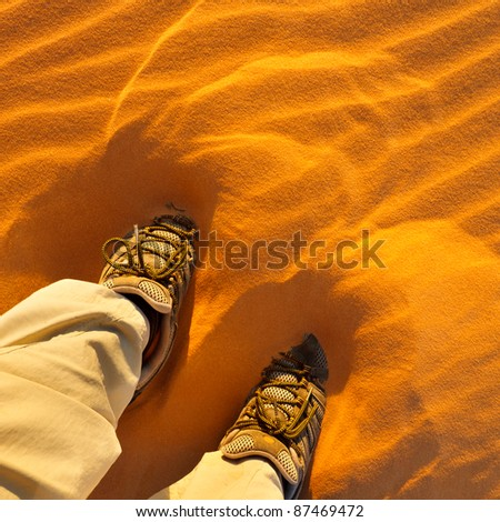 Walking in the sand of the Sahara Desert, Libya