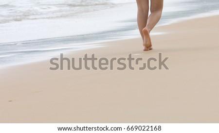 Walking on a clean beach on the beach #669022168