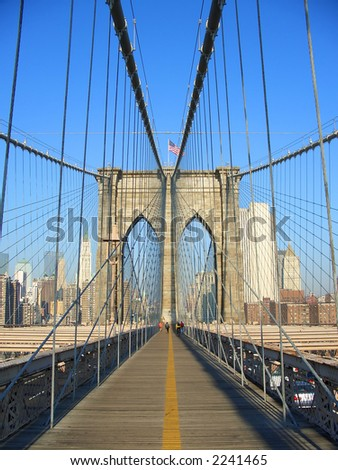 Walking on Brooklyn Bridge walkway