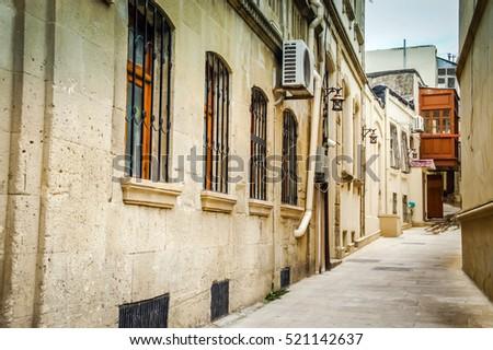 "stock photo walking on empty in old town of baku baku architecture romantic baku baku white city old city 521142637 - Каталог - Фотообои ""Города"""