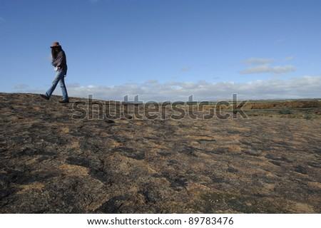 walking on moon rock, augrabies national park,south africa