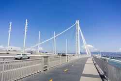Walking on the new bay bridge trail going from Oakland to Yerba Buena Island, San Francisco bay, California