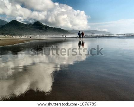 Walking on Water at  Cannon Beach, Oregon