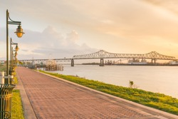 Walking path along the Mississippi River in Baton Rouge, Louisiana