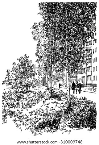 Walking people figures in the city park. Black and white dashed style sketch, line art, drawing with pen and ink. Western classical trend of book illustration and comic art. Retro vintage picture.