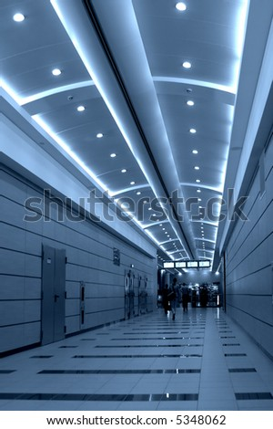 Walking people in Domodedovo airport, Moscow, Russia - stock photo