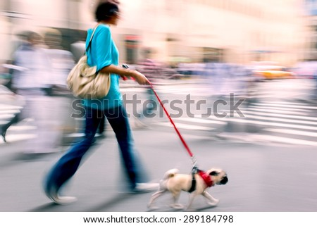 walking the dog on the street in motion blur  using filter