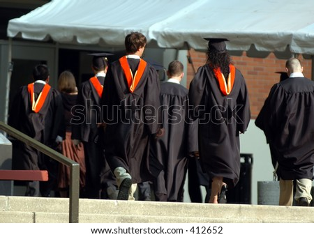 Walking to the graduation ceremony