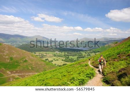 Walking toward Keswick from Causey Pike, English Lake District