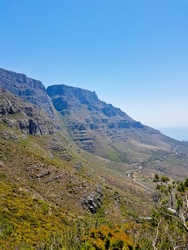 Walking trail path on Table Mountain National Park in Cape Town, South Africa.