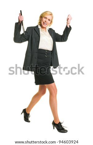 Walking woman looking toward and have a great feelings, white isolated background.