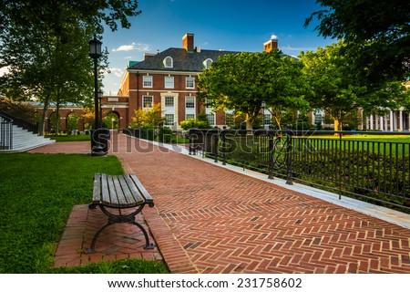 Walkway and buildings at John Hopkins University in Baltimore, Maryland.