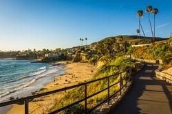 Walkway and view of the Pacific Ocean at Heisler Park, in Laguna Beach, California.