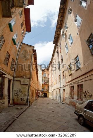 Walkway between old houses in the streets of Lvov