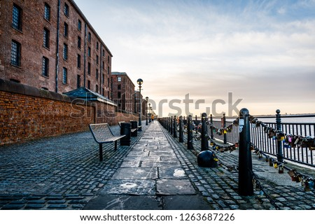 Walkway between the Royal Albert Dock and the Waterfront in Liverpool, United Kingdom #1263687226