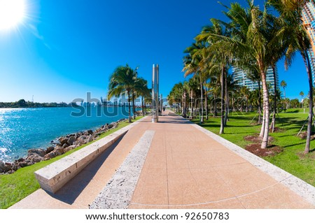 Walkway in a the beautiful park South Pointe in Miami Beach, Florida