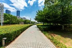 walkway in the modern city