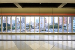 walkway of the glass wall