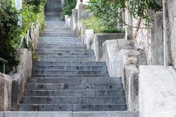 Walkway, steep stairway going up to Trsat Castle. Rijeka (Fiume), Croatia