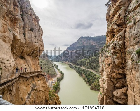 Walkways and dramatic cliffs of Caminito del Rey, Spain #1171854718