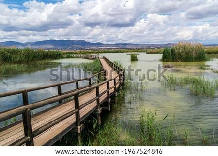 Walkways over lakes at Parc Natural el Fondo in Valencia, Spain Photo stock ©