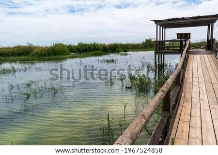 Walkways over lakes at Parc Natural el Fondo in Valencia, Spain Foto stock ©