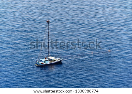 Walkways, typical boats for the practice of swordfish, Palmi, District of Reggio Calabria, Calabria, Italy, Europe #1330988774