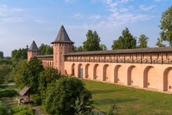 Wall and the fortification towers of The Saviour Monastery of St. Euthymius. Suzdal, Russia