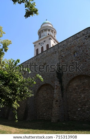 Wall and tower of The Benedictine Pannonhalma Archaabbey, Hungary Stock fotó ©
