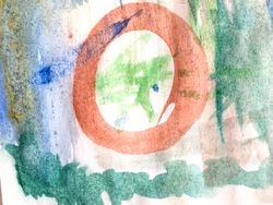 Wall Art Canvas. Summer Childlike Texture.  Chalk Scratch Sketch. Triangular Design Elements Background. Futuristic Child Illustration. Happiness Wall.
