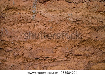 Wall background made clay mold clay into a residential home.