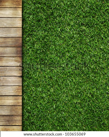 Wall Background on green grass