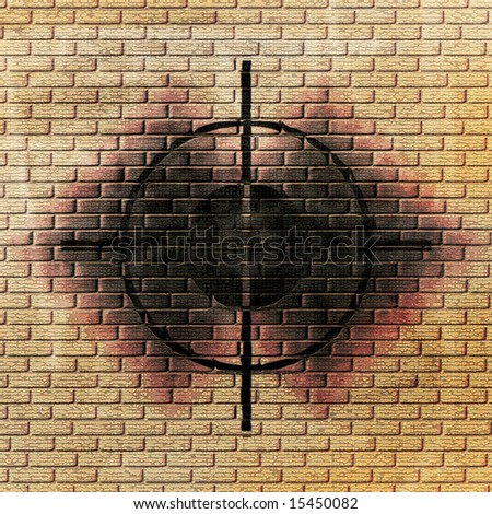wall background with a rifle scope sight