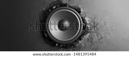 Wall breaks from sound with loudspeaker. 3d illustration