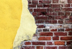 wall brick background gray old texture stone, brickwork masonry concrete facades grimy grey, yellow illuminating color painting