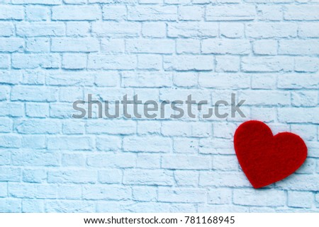 Wall brick background with red heart. Best card for Valentine Day! I love you!