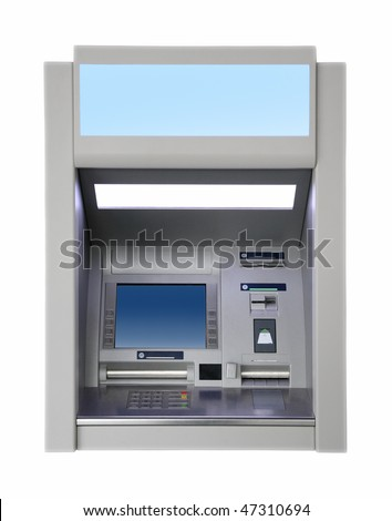 wall cash dispense isoalted on white - stock photo