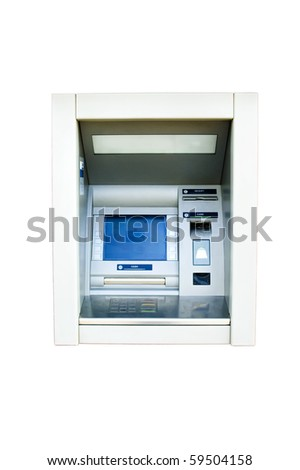 Wall cash dispense isolated on white