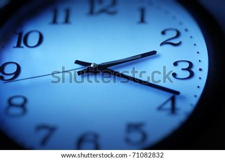 Wall clock closeup. Selective focus.
