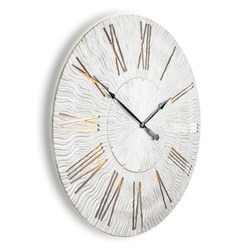 Wall Clock in Shape Twinkle Silver Isolated on White. Front Side View of Silent Quartz Clock Movement. French Country Style Timepiece with Roman Numerals on Metal Frame. Home Decor Classic Timekeeping