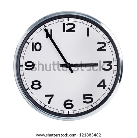 Wall clock is five minutes to three