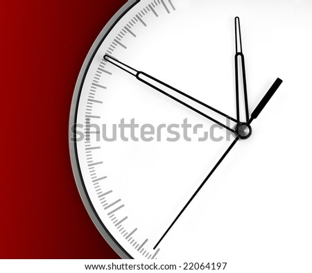 Wall Clock, isolated on red background