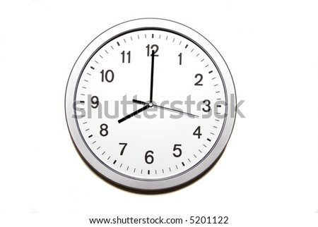 wall clock isolated on white and signing the eight o clock hour - part of 12 hours series