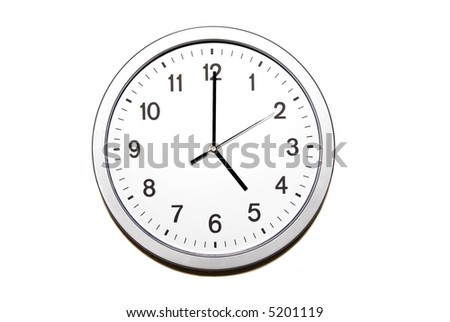 wall clock isolated on white and signing the five o clock hour - part of 12 hours series