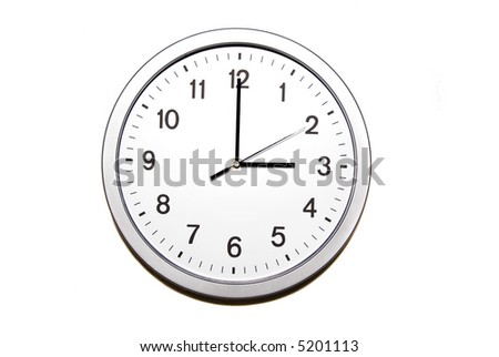 wall clock isolated on white and signing the three o clock hour - part of 12 hours series