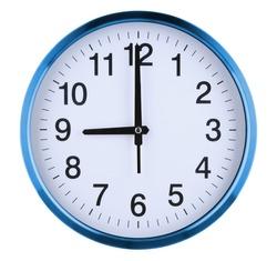 Wall clock isolated on white background. Nine oclock.